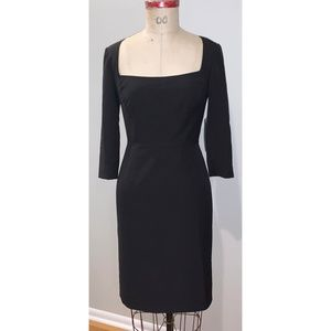 Classic little black dress with square neckline